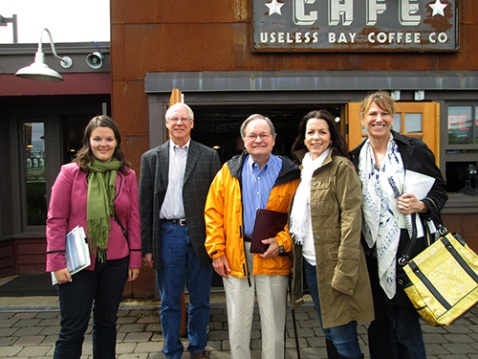 Lunch in Langley. (L to R) Laura Hilton, Langley Mayor Fred McCarthy, Marc Esterly, Krys Karns, and Sherrye Wyatt.
