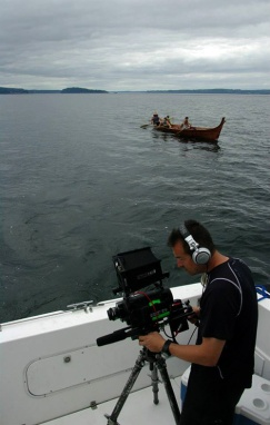 Clearwater filming on the Olympic Peninsula. Photo by Sophie Gergaud.