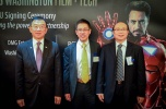 Mayor Conrad Lee of Bellevue, Andy Mok, President of Red Pagoda Resources, and Chayonang District Director.
