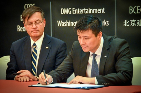 Schuyler Hoss, International Relations Director, Office of Governor Inslee, and Tony Zhang, producer and Vice President of DMG Entertainment.