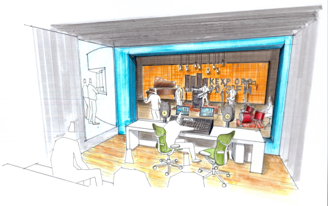 An artist rendering of the Live Room and Viewing Area. Courtesy of SkB Architects.