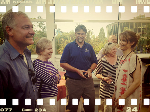 Shelton on the film's set last summer with Senator Jeanne Kohl-Welles.